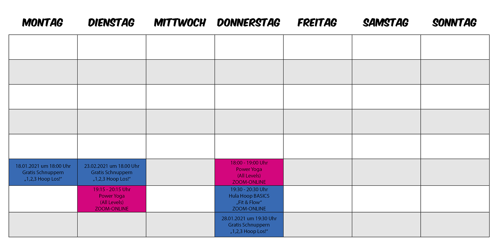 Yoopini Wochenplan